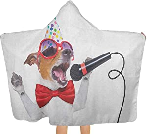 """shirlyhome Kids Bath Towel Popstar Party Hooded Towels for Baby Jack Russel Dog with Sunglasses Party Hat and Bowtie Singing Birthday Song Multicolor Size 30""""x50"""""""