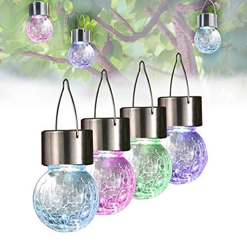 Lantern Crackle (SOLAHOMF Solar Powered Lights Outdoor Tree Hanging Light Garden Lights- Weatherproof Design- RGB Lantern Pathway Landscape Lights for Garden/Yard/Patio/Window- Set of 4)