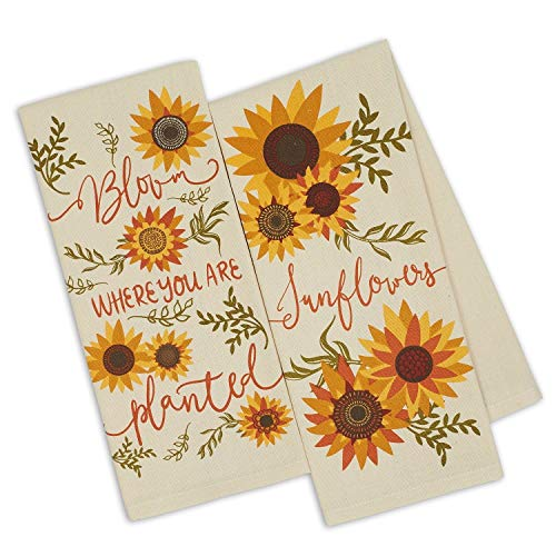 Design Imports DII Set 2 Sunny Sunflower Printed Kitchen Dish Towels - Bloom Where You are Planted - - Towel Printed Dish