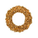 Vickerman Pre-Lit Antique Tinsel Artificial Christmas Wreath with Clear Lights, 24'', Gold