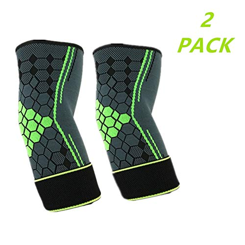 (2 Packs) Adjustable Compression Elbow Support Elbow Brace Sleeves with Strap for Running,Fitness, Basketball,Volleyball,Table Tennis, Relieve Muscle Damage, Tendonitis, Arthritis (Green, L)