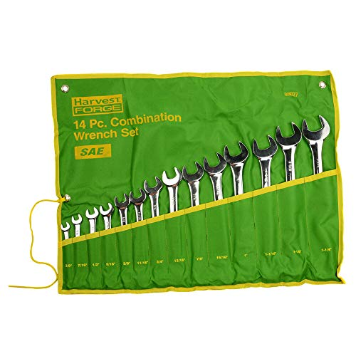 - 14PC Piece SAE Standard Combination Wrench Set w Roll-Up Pouch 3/8