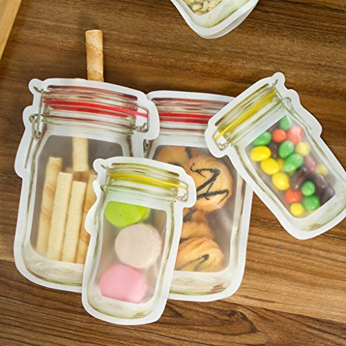(4Pcs Mason Jar Zipper Bags Food Storage Snack Sandwich Zipper Bags Reusable Airtight Seal Food Storage Bags Leak-Proof Food Saver Bags for Travel Camping and Kids)