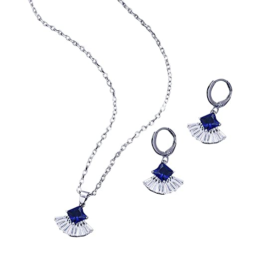 d959f7018 Amazon.com: Women's Alloy Inlaid Earrings Sector Ear Studs Necklace Ornament  Jewellery: Clothing