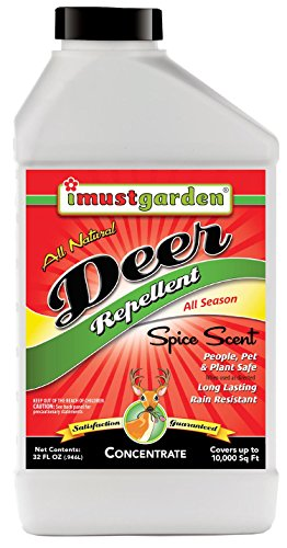 - I Must Garden Deer Repellent 32oz CONCENTRATE: Spice Scent Deer Spray for Gardens, Plants, and Trees - Makes 2.5 Gallons