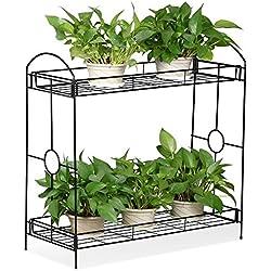 Topeakmart Indoor/Outdoor 2-Tier Metal Flower Stand Plant Stand Rack w/Tray Design Garden & Home Black,33.5 x 13.4 x 31.9in. (W x D x H)
