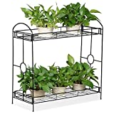 Topeakmart Indoor/Outdoor 2-Tier Metal Flower Stand Plant Stand Rack w/Tray Design Garden & Home Black,33.5 x 13.4 x 31.9in. (W x D x H) Review