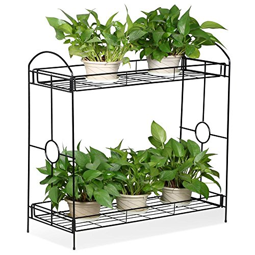Wrought Iron Plant Stand - Topeakmart Indoor/Outdoor 2-Tier Metal Flower Stand Plant Stand Rack w/Tray Design Garden & Home Black,33.5 x 13.4 x 31.9in. (W x D x H)