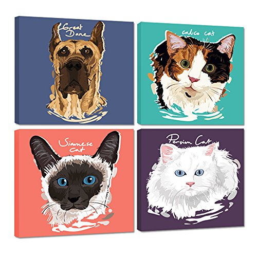 Hello Artwork - Animals Canvas Wall Art Great Dane Calico Siamese Persian Cat The Picture Abstract Pets Animal Painting Print On Canvas Stretched and Framed (12''x12''x4pcs/set) (Cats Pictures Persian)