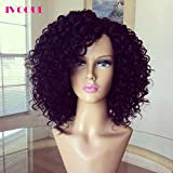 Virgin Peruvian Curly Human Hair Full Lace Wigs Short Glueless Lace Front Remy Human Hair Wigs with Baby Hair (12''LaceFrontWig)