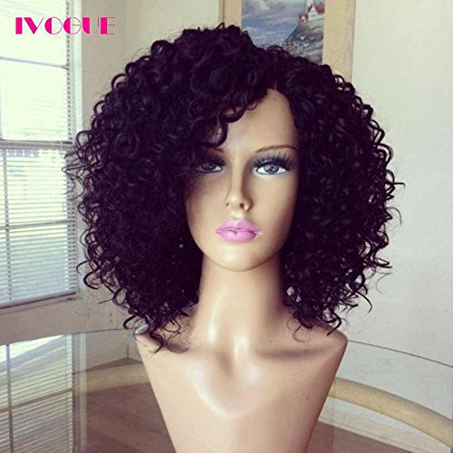 Short Virgin Peruvian Curly Human Hair Full Lace Wigs Glueless Lace Front Remy Human Hair Bob Wigs with Baby Hair