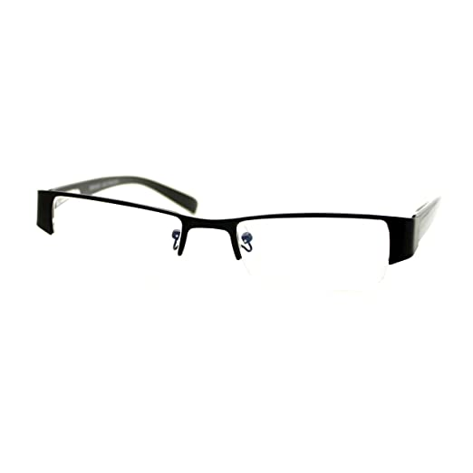 62ca15ad834f Magnified Reading Glasses Rectangular Half Rim Spring Hinge Frame Black + 1.50