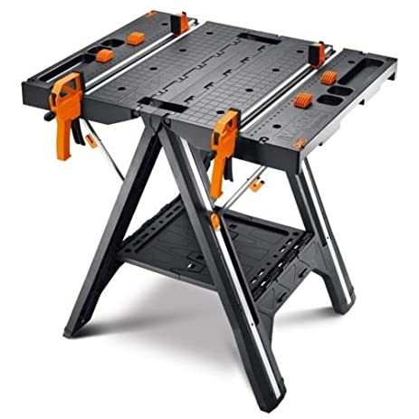 High Quality Table Folding Sawhorse Bench Portable Workbench Adjustable Garage Saw  Compact Horse Clamps Tool