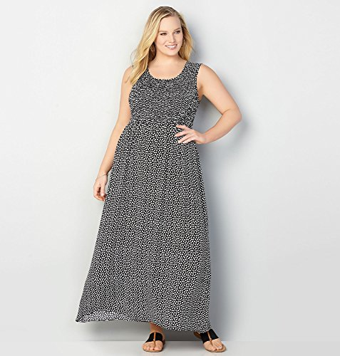AVENUE-Womens-Smocked-Polka-Dot-Maxi-Dress
