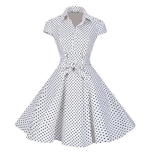 BI.TENCON Women's Retro 50s Vintage Style Cap Sleeve Party Dress White Polka Dot 2XL