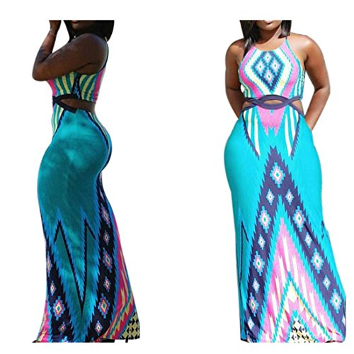 Amiley Summer Mothers day Perfect gift Fashion Women Bohemia Sexy Oversize plus size Bandage Beach swimming Pool Sleeveless Long Dress (S, Light (Summer Fashion Gift)