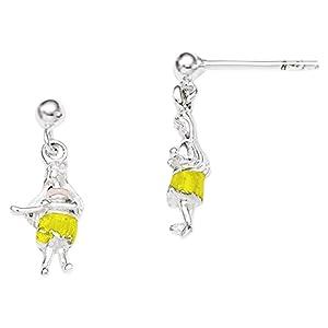 .925 Sterling Silver 13 MM Children's Enameled Hawaiian Girl Dangle Post Stud Earrings