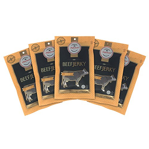Cheap Aufschnitt Beef Jerky – Barbecue – 5 pack (2 oz each) – Kosher, Glatt, Star-K Certification, Gluten Free, All Natural, No Nitrites, Grass Fed Beef