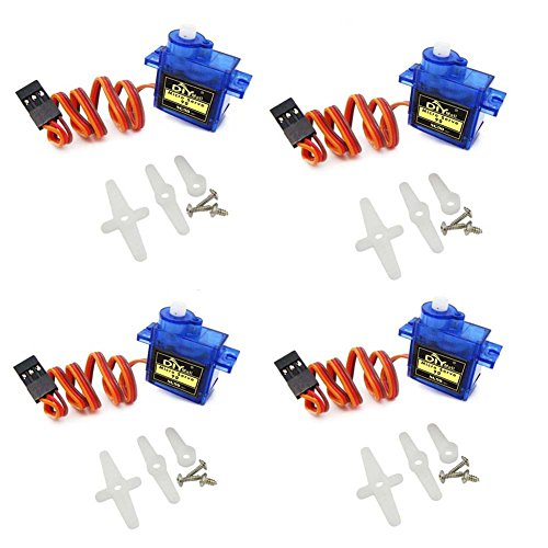 DIYmall Airplane 9g SG90 Mini Servo with Accessories For Arduino 450 RC Helicopter Airplane Car Boat (pack of 4pcs) ()