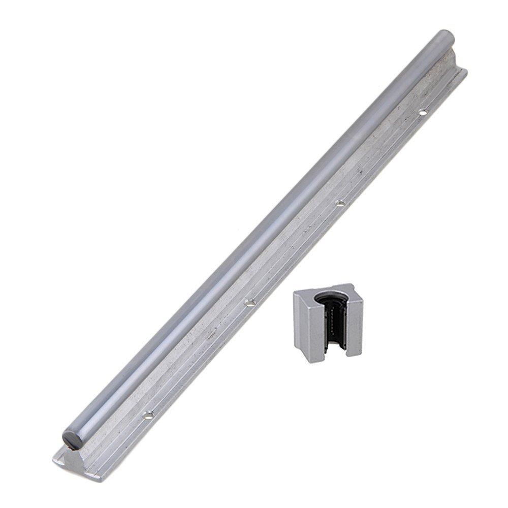 BQLZR Argent 12 mm Shaft Dia Linear Bearing Rail support CNC Linear Motion et ouvert Roulement liné aire Slide Linear Motion Block Lot de 2, argent, N23833