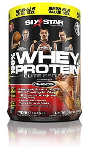 Six Star Pro Nutrition Elite Series Whey Protein Powder, Triple Chocolate, 5lb (Packaging may vary) by Six Star