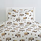 Carousel Designs Watercolor Buffalo Duvet Cover Twin Size - Organic 100% Cotton Duvet Cover - Made in the USA