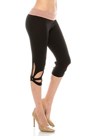 657e1a016e618c ALWAYS Women Solid Soft Stretch Cutout Yoga Pants Workout Leggings Black  Mauve Regular