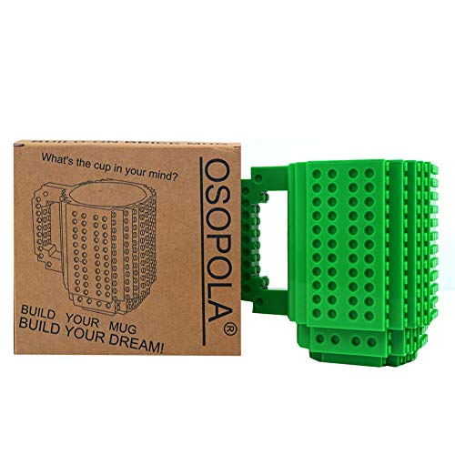 OSOPOLA Build-On Brick Mug Building Blocks Coffee Cup Creative DIY Party Supply Drinkware for Coffee Tea Beverage Drinking Funny Gift (Green )