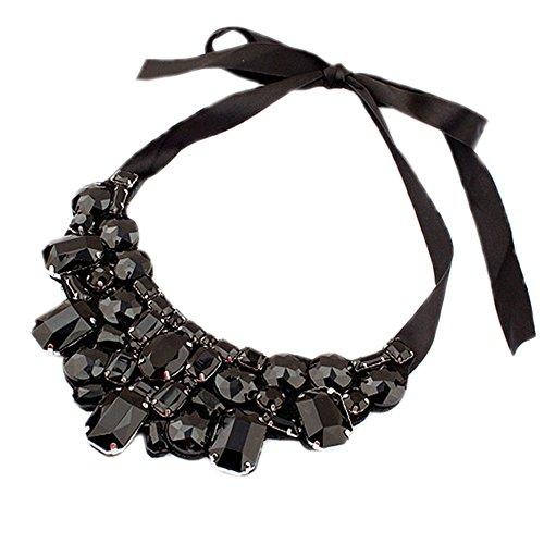DELEY Rhinestone Geometric Beaded Ribbon Lace Up Maxi Bib Choker Collar Cluster Statement Necklace Black
