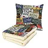 iPrint Quilt Dual-Use Pillow Vintage Decor Original Retro License Plates Creative Travel Collections Art Decorative Multifunctional Air-Conditioning Quilt Green Blue Yellow