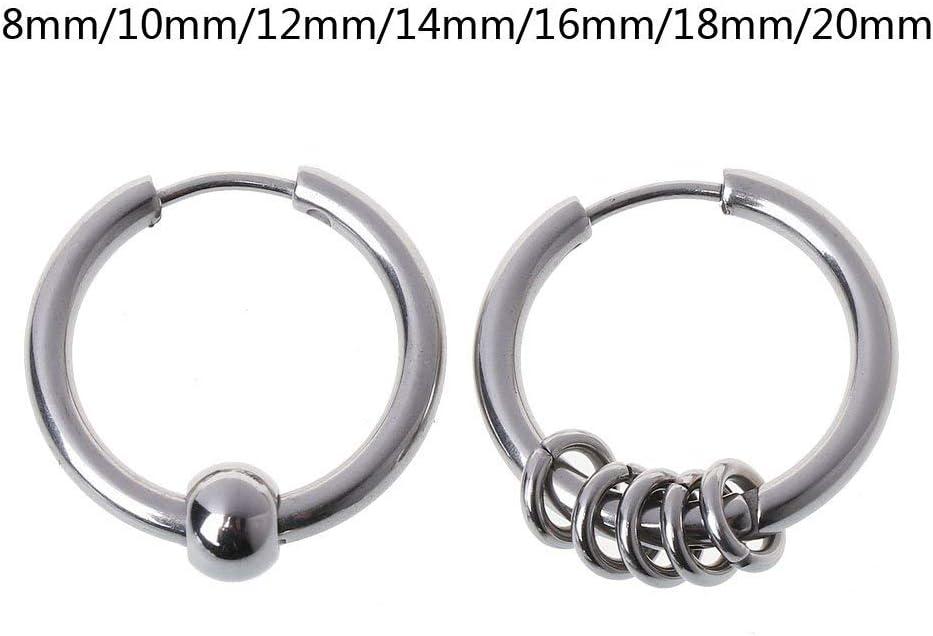 B 14Mm Argent Kofun Boucle doreille 1 Paire De Boucles doreilles en Acier Titane BTS Cartilage Helix Piercing Earrings Section A