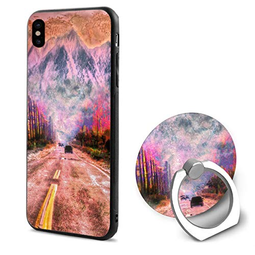 (iPhone X Case Mountain Painitng Ring Holder 360 Degree Rotating Stand Grip Mounts Slim Soft Protective Cover)