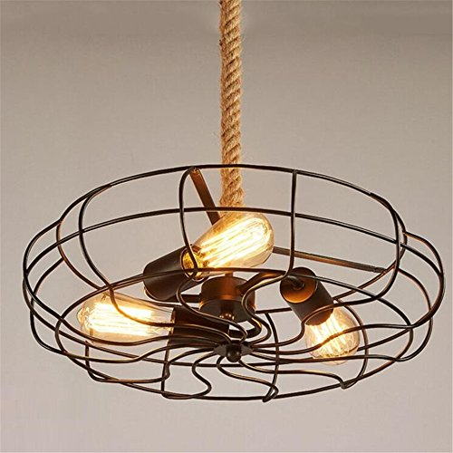 E27 Vintage Rope Fan Pendant Lights Ceiling Lights Industrial Retro  Chandelier Bedroom Living Room Cafe Bar