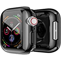 FOOKANN Full Coverage Screen Protector Case/Cover for Apple Watch Series 4 44mm, Soft Protective Cover for iWatch Series 4 44mm, Black