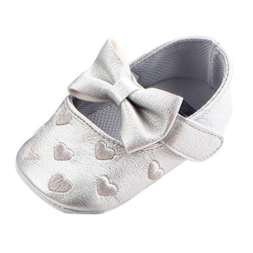 Dooxi Bebé Niña Moda Bowknot Princesa Zapatos Antideslizante Suela Blanda Sandalias Plata