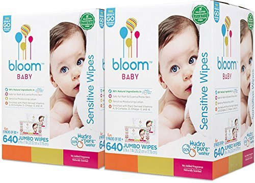 bloom BABY Sensitive Skin Unscented Hypoallergenic Wipes with Holder - 1280 count by bloom BABY