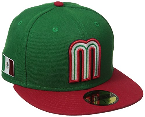 World Baseball Classic Mexico Men's 2017 Official On Field 59Fifty Fitted Cap, Green, 7.5