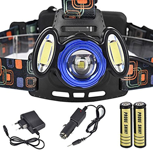 Leegor 15000Lm 3x XML T6 Rechargeable Headlamp HeadLight Torch USB Lamp+18650+ AC Charger + Car Charger Waterproof Travel Flashlights by Leegor