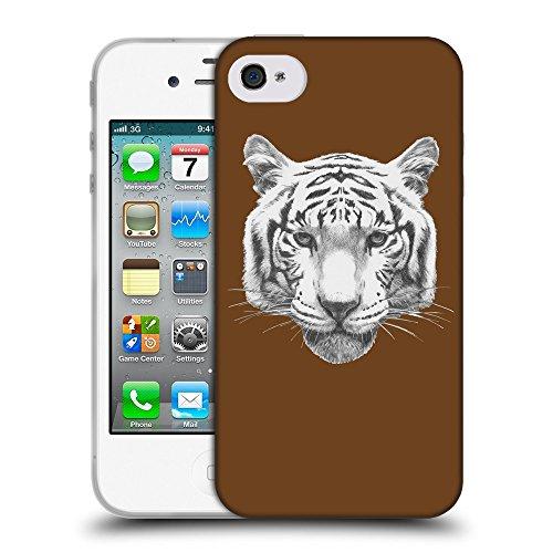 GoGoMobile Coque de Protection TPU Silicone Case pour // Q05470633 tigre blanc Sépia // Apple iPhone 4 4S 4G