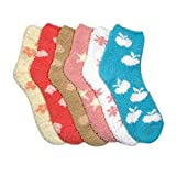 Mamia 6 Pairs Womens Cozy Slipper Socks Fuzzy Sock Multi Color Size 9-11