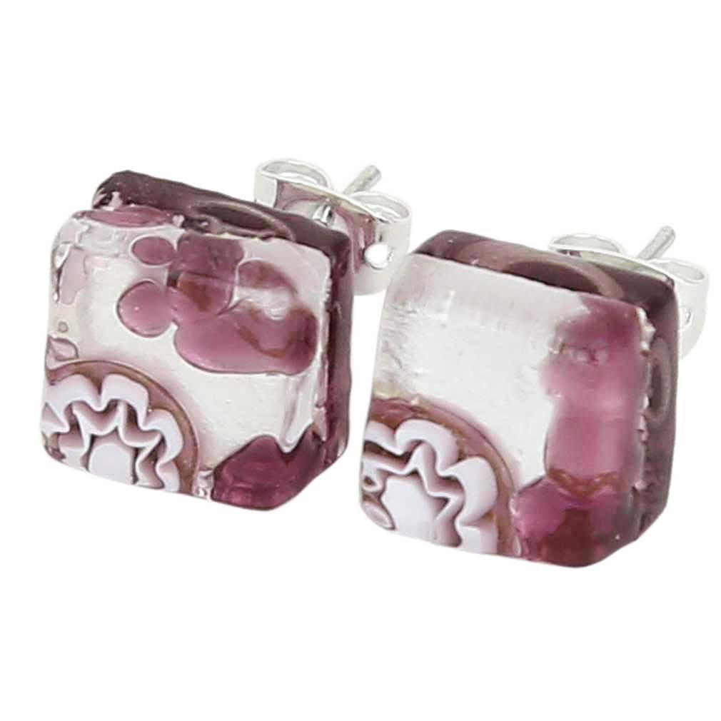 GlassOfVenice Murano Glass Venetian Reflections Square Stud Earrings - Purple Silver