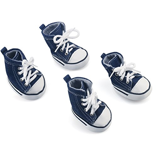 Cowboy Pet Dog Shoes, URBEST Nonslip Puppy Sport Denim Blue Casual Dog Canvas Booties Sneaker Paw Protector for Small Dogs Teacup Chihuahua Yorkie Doggies, 2Pairs (Size 7: 2.87