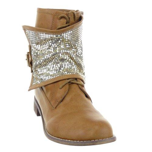 Sopily - damen Mode Schuhe Stiefeletten Biker metallisch Schuhabsatz Blockabsatz - Khaki
