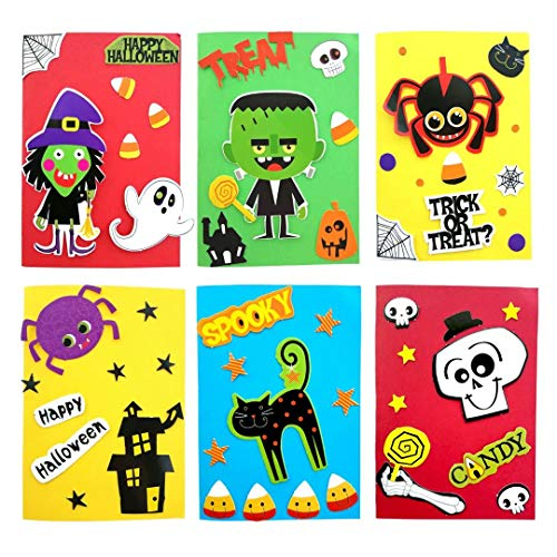 Halloween Greeting Cards, Card Making Kit, DIY Handmade Art Crafts Supplies Set for Kids Girl boy,Party Invitation Card for Friends and Relatives, Make 6 & 6 Envelopes & 6 Trick-or-Treat Goodie Bags (Hand Made Card For Best Friend)