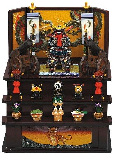 【ミニ五月人形】5165 伊達公鎧大砲三段飾り(茶)(毛バタキ付) B00FLH11XC