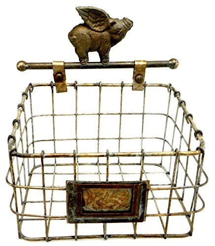 - UDI Decorative Industrial Style Metal Wall Mount Storage Basket with Flying Pig