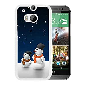 Christmas AA106 White Fashionable Design HTC ONE M8 Plastic Case