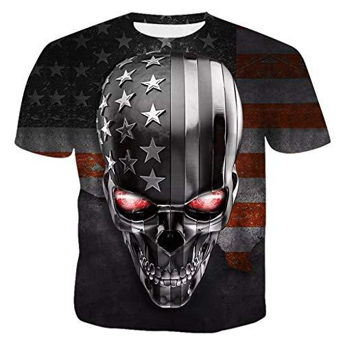 refulgence USA Blue Line American Flag Military Gun Army Mens T-Shirt Hipster Hip Hop Graphic T-Shirt (Gray,XL) -