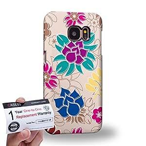 Case88 [Samsung Galaxy S7] 3D impresa Carcasa/Funda dura para & Tarjeta de garantía - Art Fashion Light Beige Painted Fashionista Floral