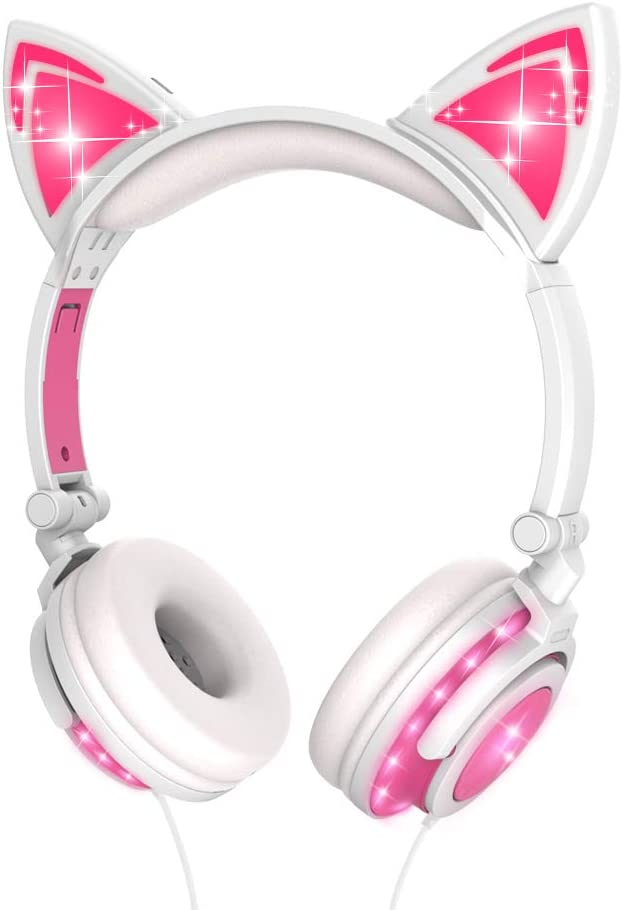 Kids Headphones, LOBKIN Wired Headphones for Kids, Cat Ear LED Light Up Adjustable Headband, Stereo Sound Headsets Childrens Headphones on Ear (Pink-Full Lights)